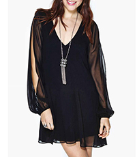 Black Mini Dress – Stylish Sheer Chiffon Overlay