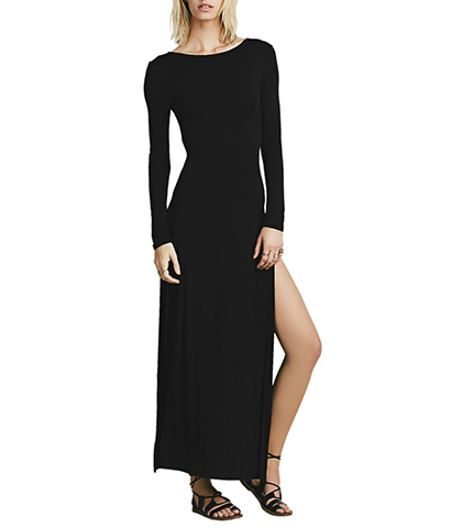 Maxi Dress – Solid Black / Long Sleeves / Simple Rounded Neckline