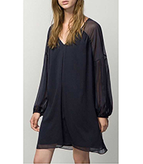 Chiffon Evening Dress – Solid Black / Sheer Full Sleeves