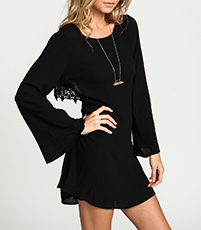 Chiffon Mini Dress – Black / Bell Sleeves / Large Cutout Back