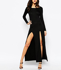 Figure Hugging Black Long Dress – Long Sleeves / Double Slit