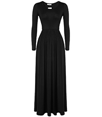 Long Sleeved Maxi Dress – Jersey Knit / Pleated Skirt / Black