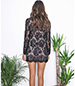 Long Sleeve Lace Mini Dress – Black / Laced Front
