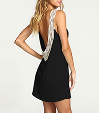 Backless Chiffon Dress – Sleeveless / Lace Detail / Black / Short Hem