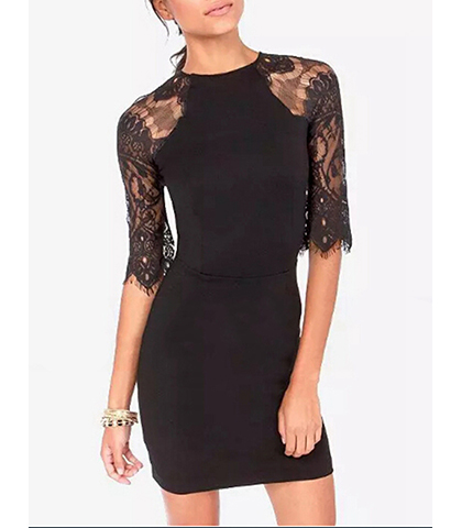 Black dress with elbow length sleeves