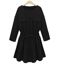 Drawstring Fit and Flare Dress – Black / Long Sleeves / Round neckline / Flap Pockets