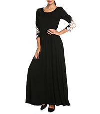Lace Elbows Black Maxi Dress – Scooped Neckline / Gathered Waist