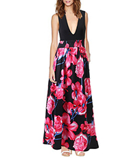 Sleeveless Floral Maxi dress – V Neckline / Empire Waistline