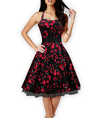 Black Red Floral Fit and Flare Dress – Short Sleeves / Flared Skirt