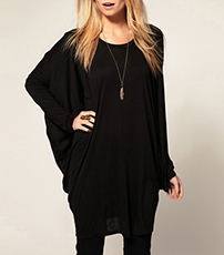 Loose Black Shirt – Long Batwing Sleeves / Scoop Neck / Soft Cotton Knit