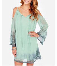 Chiffon Mini Dress – Cold Shoulder Style / Shades of Blue / Short Flirty