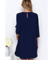 Chiffon Dress – Classic Midnight Blue / Long Sleeves / Rounded Neckline