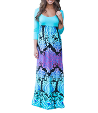 Maxi Dress – Blue and Purple Print / Empire Waistline