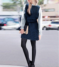 Fit and Flare Long Sleeves Dress – Short / Navy Blue