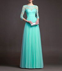Maxi Lace Dress – Sweetheart Bodice / Lace Neckline and Sleeves / High Waistband