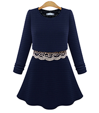 Layered Lace Jacket Dress – Lace Underlayment / Fit and Flare / Royal Blue / Bell Skirt