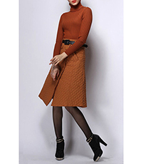 Womens A Line Skirt – Chocolate / Fold Over In Front