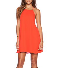 Coral Halter Dress – Classic A Line Silhouette