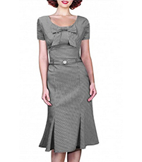 Charcoal Gray Midi Dress – Short Sleeves / Rounded Neck