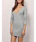 Cotton Knit Dress – Light Gray / Defined Waistline With Gathers