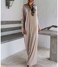 Maxi Dress – Sand Color / Off The Shoulder Option