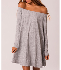 Off Shoulder Mini Dress – Heather Gray / Long Sleeves / Loose Swing Style