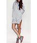 Sweatshirt Mini Dress – High-Low Hemline / Hood / Gray