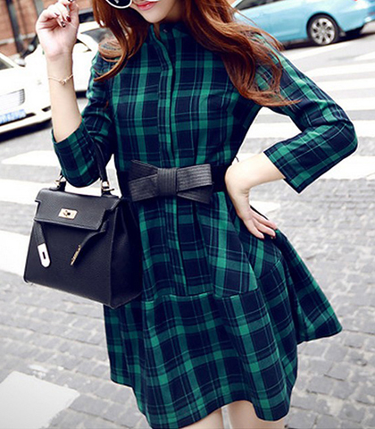 Mini Dress – Green Plaid / High Collar / Belted Waistline with Decorative Bow