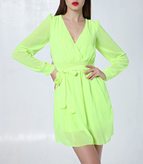 Classic Chiffon Wrap Dress – Light Green / Deep V Neckline