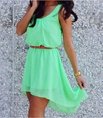 Sleeveless Chiffon Dress – Mint Green / Round Neckline / Cinched Waistline