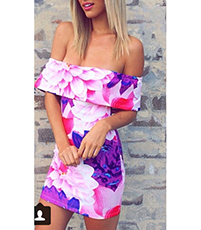 Off The Shoulder Mini Floral Dress – Ruffle / White Purple Pink