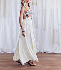 Pleated Maxi Dress – Multicolored / Floral Bodice / White Skirt