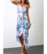 Summer Maxi Dress – Pastel Blue Floral Print / Spaghetti Straps