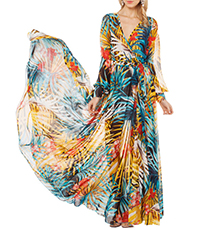 Chiffon Maxi Wrap Dress – Long Sleeves / Green Multi Print / Large Flower