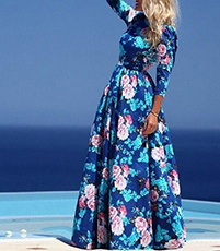 Maxi Dress – Pink White Blue Floral Print / Long Sleeves