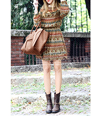 Winter Fit and Flare Dress – Long Sleeves / Yellow-Based Prints / Horizontal Stripes