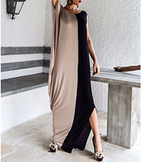 Maxi Dress – Grecian Draping / Contrasting Colors / Black Khaki