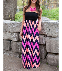Long Chevron Dress – Strapless / Fitted Bodice / High Waist / Floor Length