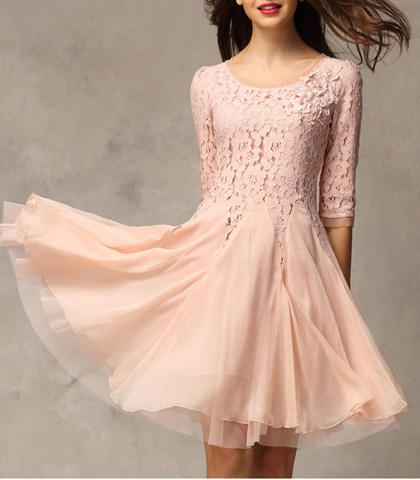 Pink Chiffon Dress - Long Sleeves / Rounded Neck