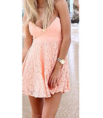 Off The Shoulder Mini Dress – Peach / Lace / Bustier Style Bodice