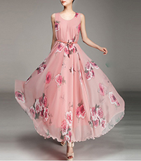 Sleeveless Chiffon Evening Gown – Pink / Floral Print