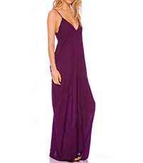 Strappy Chiffon Dress – Floor Length / Deeply Plunging Neckline / Purple