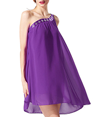 One Shoulder Dress – Purple / Rhinestone Accent / Satin Banding / Loose Fit Chiffon