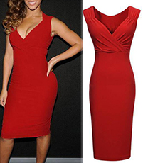 Bright Red Dress – Wrapped Bosom / Plunging V-Neck / High Waist / Form Fitted