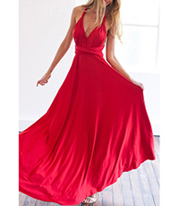 Maxi Dress – Red / Racer Cross Neck and Back / No Sleeves