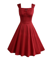 Fit and Flared Dress – Red / Short Sleeves / Pleating Skirt