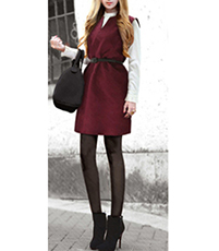 Jumper Dress – Mini Length / Wine Red / Belted Waist