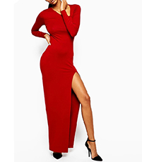 Sexy Long Sleeved Maxi Dress – Red / Side Slit