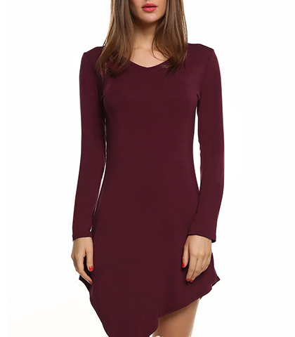 Asymmetrical Dress – Long Sleeves / Pointed Over One Knee / Maroon