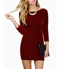 Maroon Ultra Mini Dress – Long Sleeves / Snug Comfortable Fit